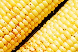 Corn, prepared for roasting on a gri