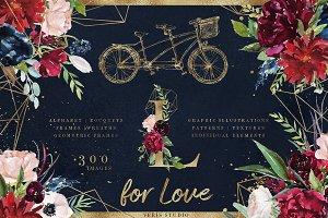 L for Love - Mega Floral Graphic Set