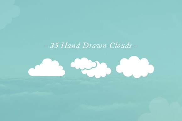 35 Hand Drawn Vector Clouds