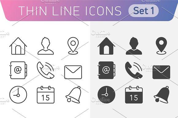 Universal Line icon set 1. in Graphics
