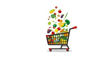 Shopping cart and vegetables