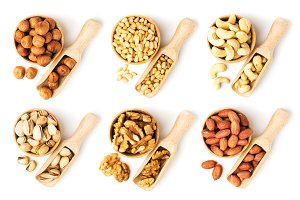Set of nuts in a wooden bowl