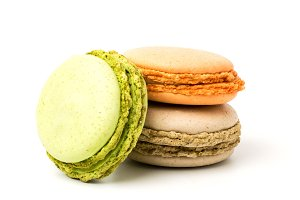 Delicious macaroons on a white