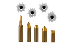 Bullets and Bullet Holes Set. Vector