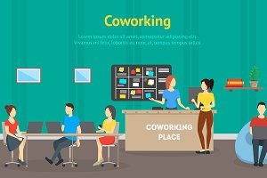 Cartoon Coworking Place Card Poster.