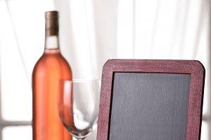 A bottle of blush wine