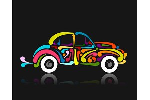 Retro car, abstract painted