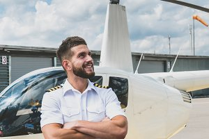 Portrait of commercial pilot in unif