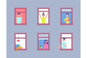 Set People Open Window. Men and