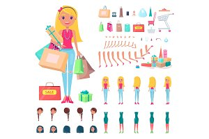 Shopaholic Constructor Woman Vector