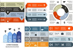 6 infographics for 4 options. Set 2