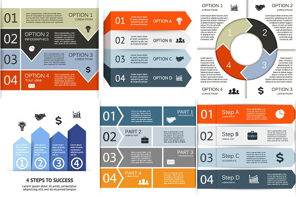 6 infographics for 4 options. Set 2 - Presentations