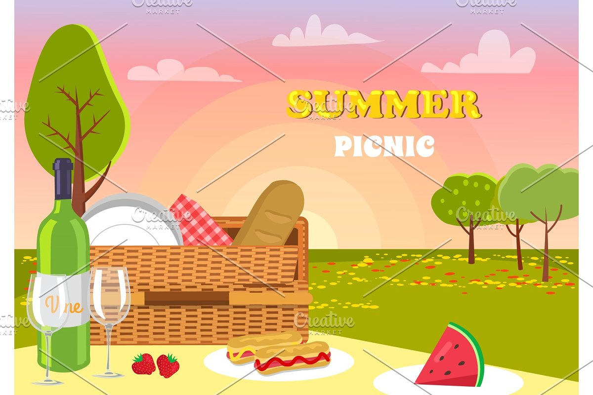 Summer Picnic Nature Products Vector