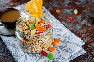 Healthy Breakfast set Granola, coffe