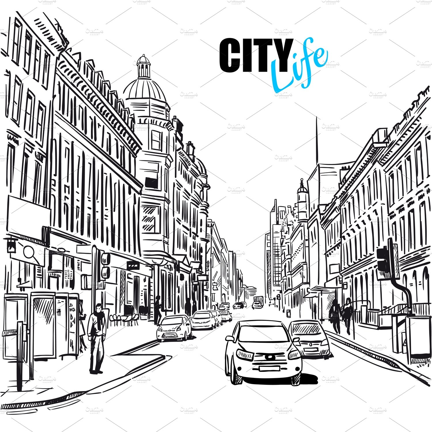 Black And White City Street Template ~ Illustrations