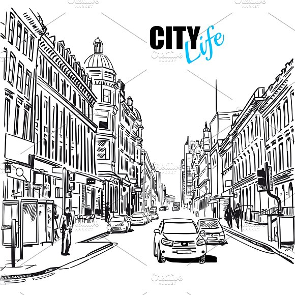 Black And White City Street Template