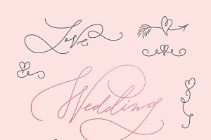 Wedding Calligraphic Letterings Set