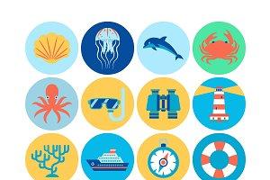 Flat Marine Icons