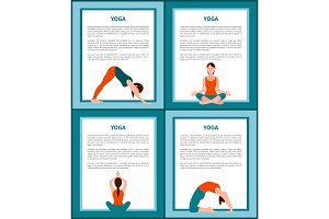 Yoga Banners Set with Text Vector