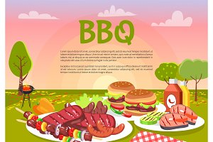 BBQ Picnic on Cute Meadow, Vector