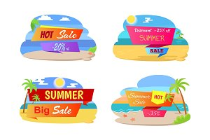 Summer Hot Sale Labels Set Tropical