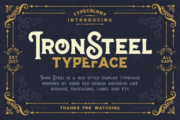 Fonts: Type Colony - IRONSTEEL OFF 30%