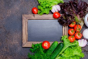 Small blackboard with vegetables  fo