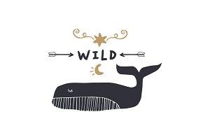 Cartoon whale art, print