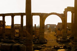 Panorama of Palmyra columns, Decuman