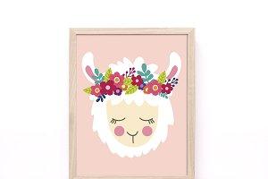 Boho Llama Printable Wall Art