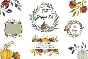 Huge Fall Design Kit Watercolor