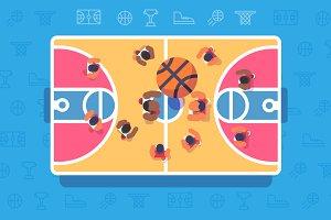 Basketball match top view