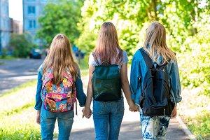 Three girl schoolgirl girlfriends
