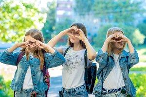 Three girls schoolgirl. It's in