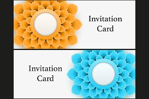 Set of Invitations with flower