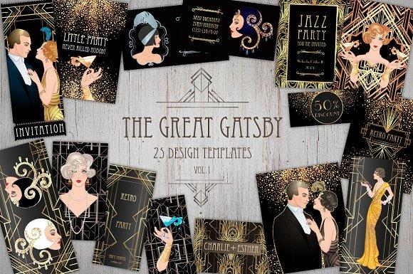 the great gatsby 25 designs vol 1 invitation templates