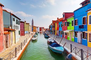 Colorful houses along the canal