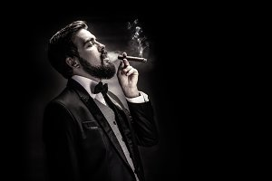 smoking gentleman portrait