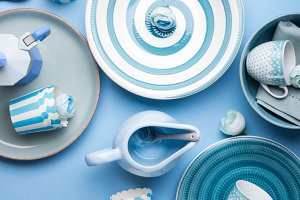 Blue pastel ceramic tableware crocke