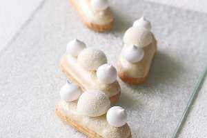 White Chocolate and Coconut Eclairs