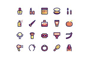 Beauty Filled Line Icons