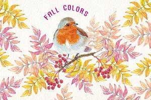 watercolor autumn colors clipart
