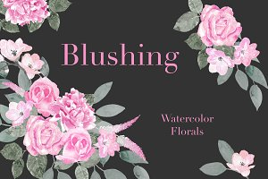 Blushing- Watercolor Floral Clipart