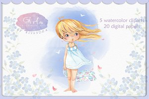 Watercolor cute girl summer clipart