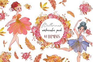 Ballerinas watercolor pack