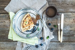 Thin pancake or crepe with blueberry