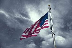 Flag of the United States on a rainy