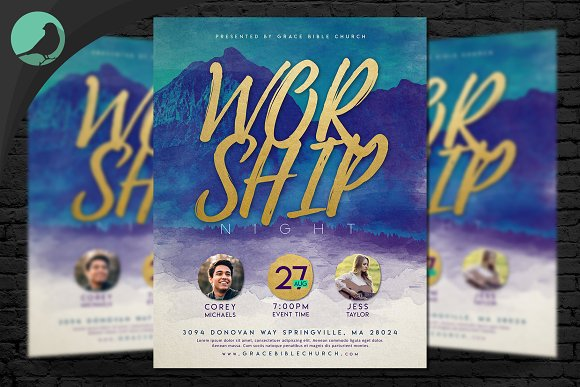 Watercolor Worship Night Flyer PSD in Flyer Templates - product preview 3