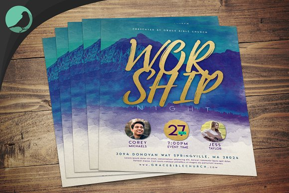 Watercolor Worship Night Flyer PSD in Flyer Templates - product preview 1