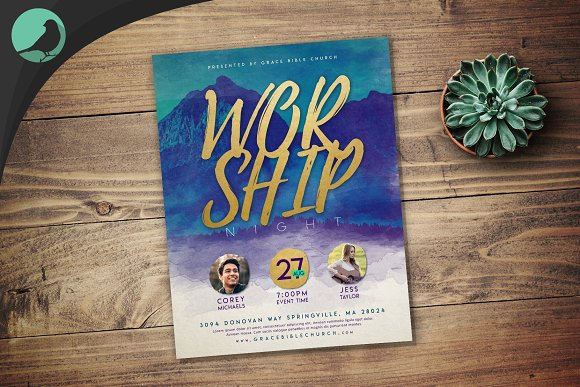 Watercolor Worship Night Flyer PSD in Flyer Templates